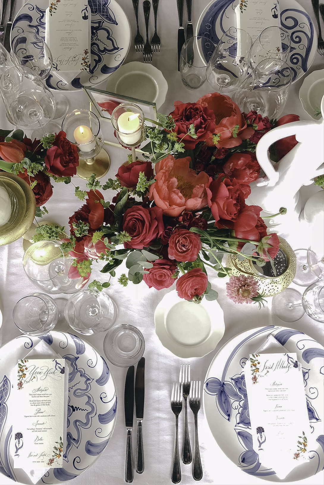 Table setting for Positano Wedding