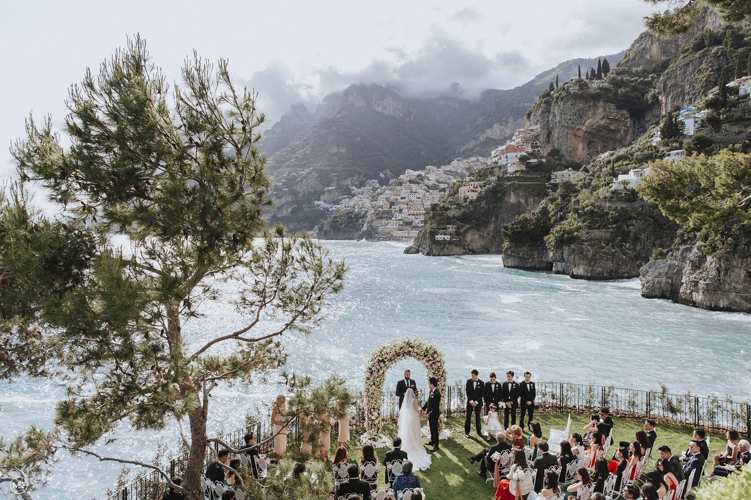 Outdoor wedding ceremony at Villa Treville