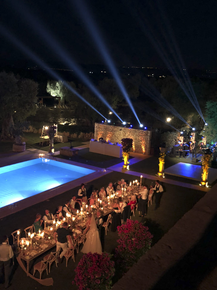Aerial view of the wedding banquet