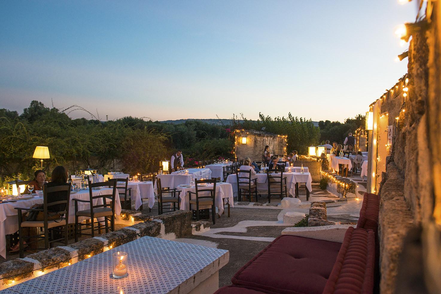 Outdoor restaurant at Torre Coccaro, Puglia