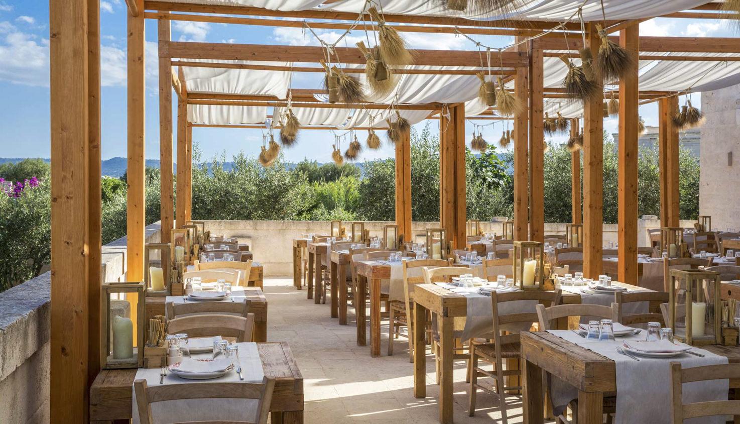 Outdoor restaurant at Borgo Egnazia