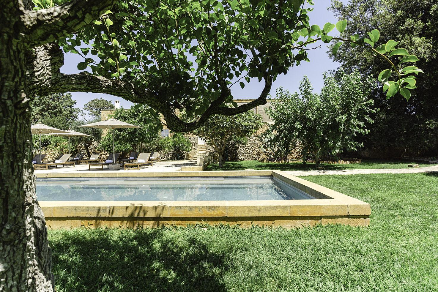 Garden pool at Masseria Borgo Mortella