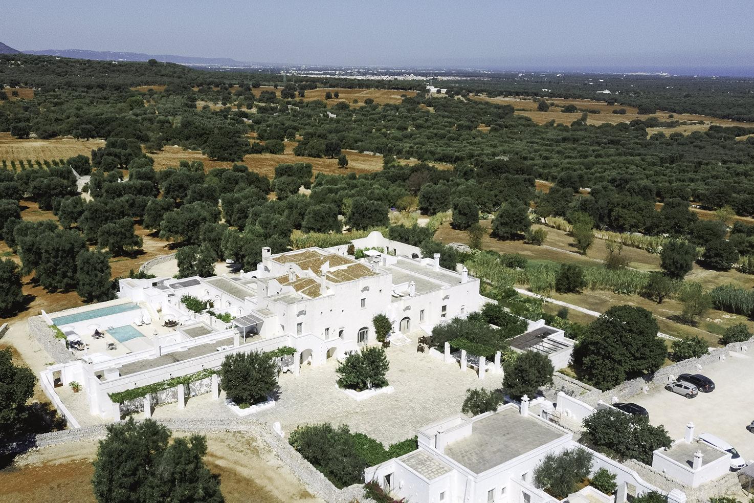 Aerial view of Masseria Le Carrube, Puglia