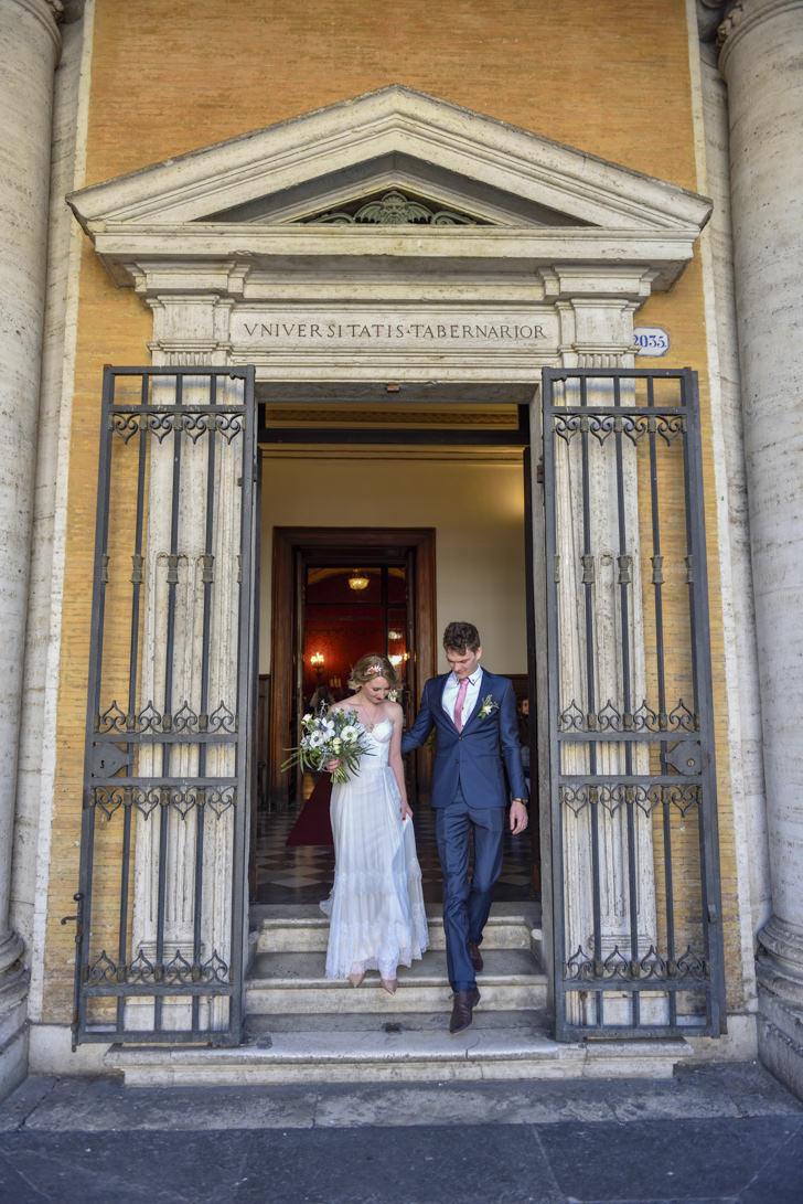 End of civil ceremony at Campidoglio in Rome