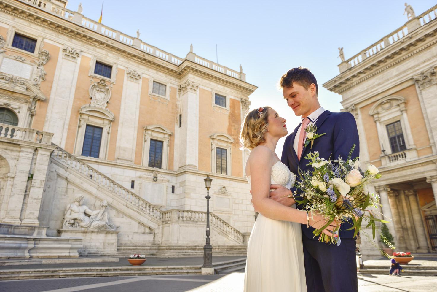 Bride and groom at Campidoglio Square