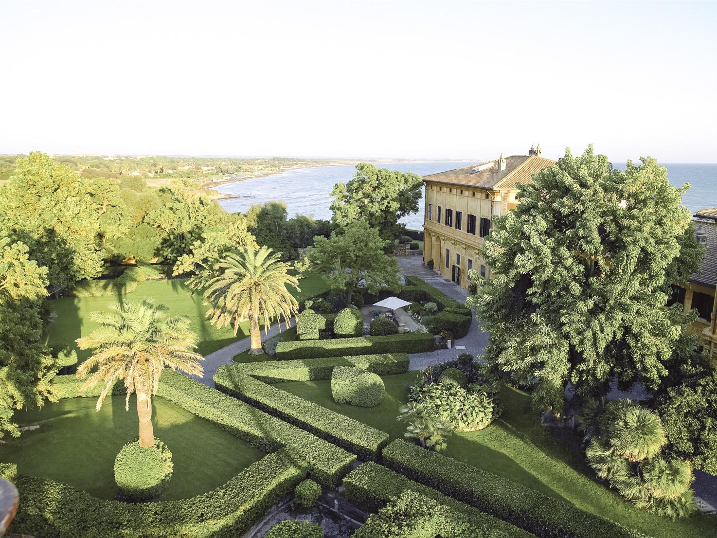 Aerial view of La Posta Vecchia and the park