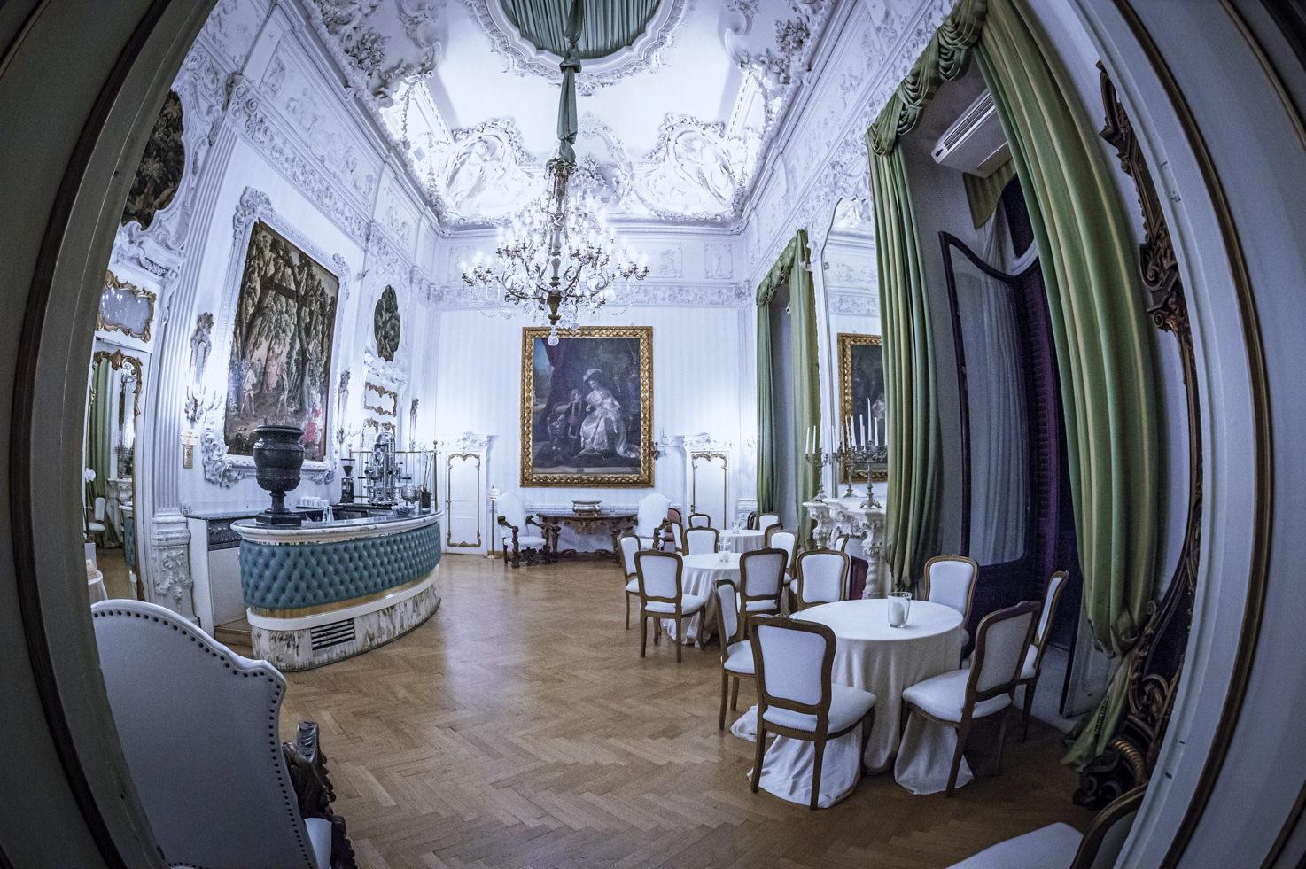 Hall with baroque stuccos
