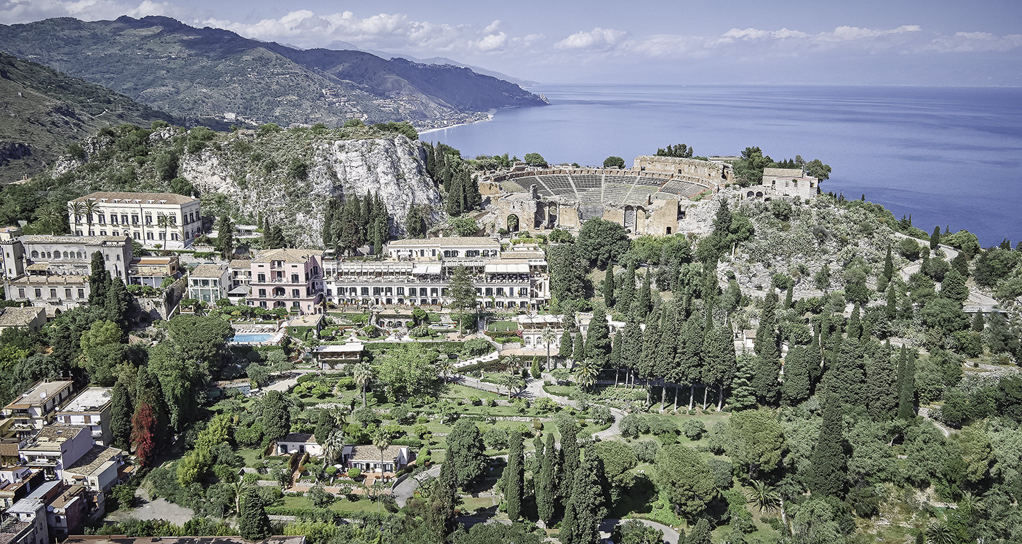 Aerial view of Taormina and Grand Hotel Timeo