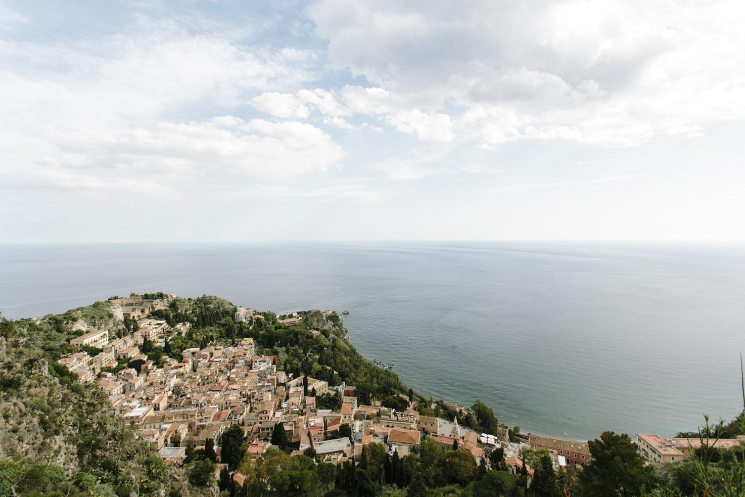Aerial view of Taormina in Sicily