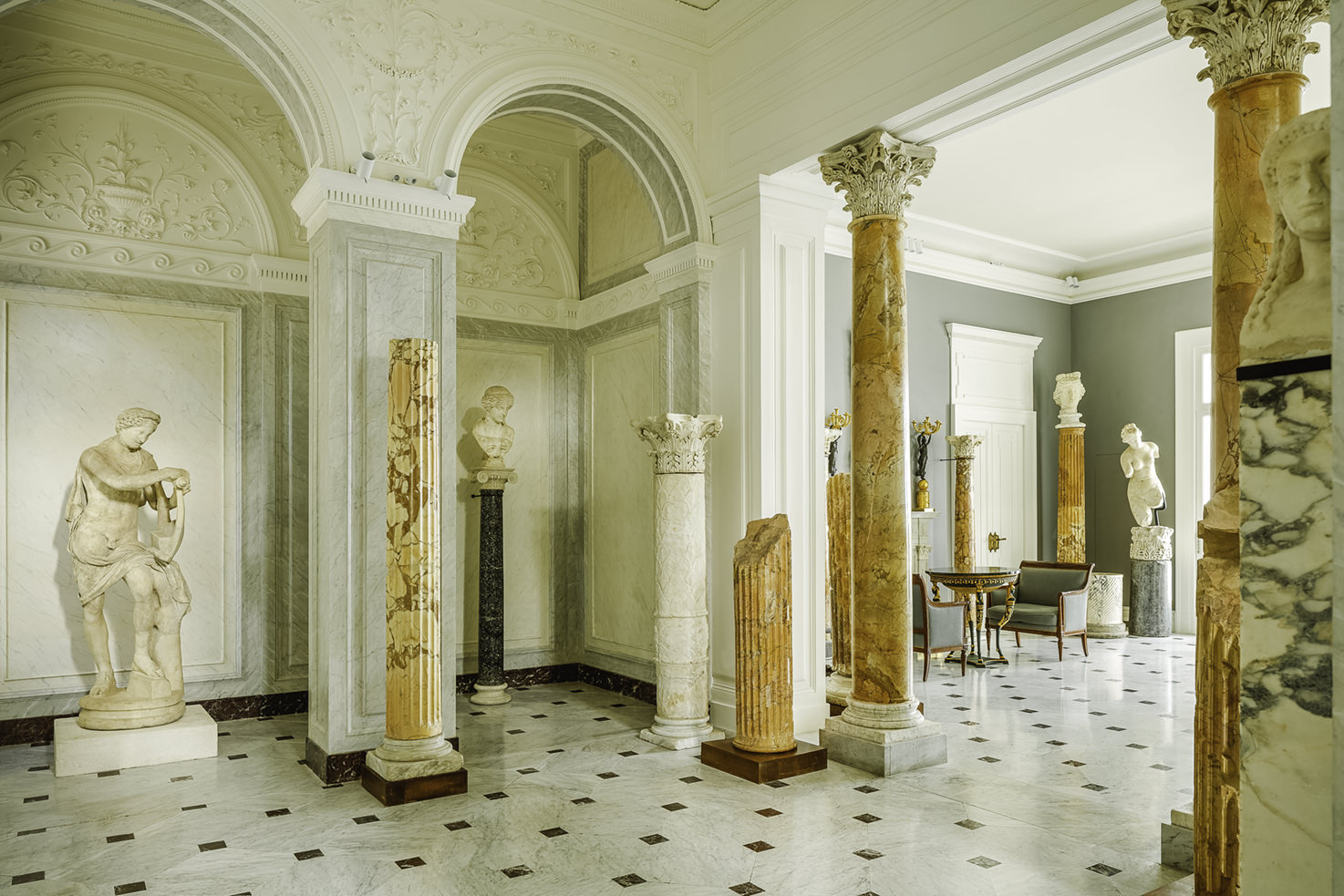 Grand Salon with marble statues