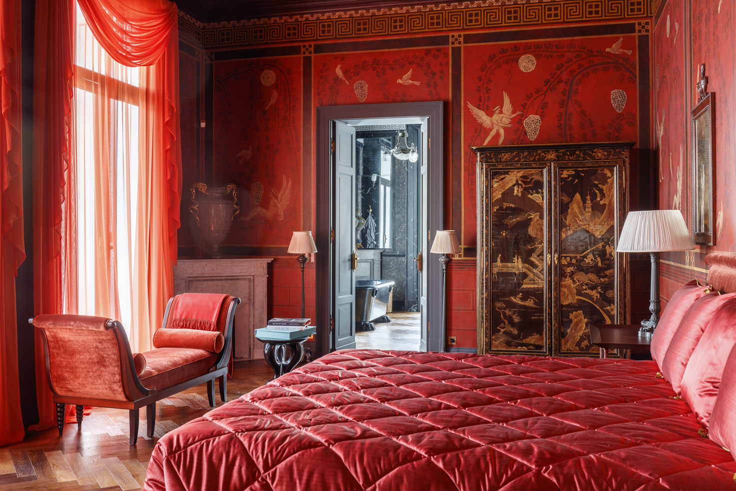 Red suite bedroom