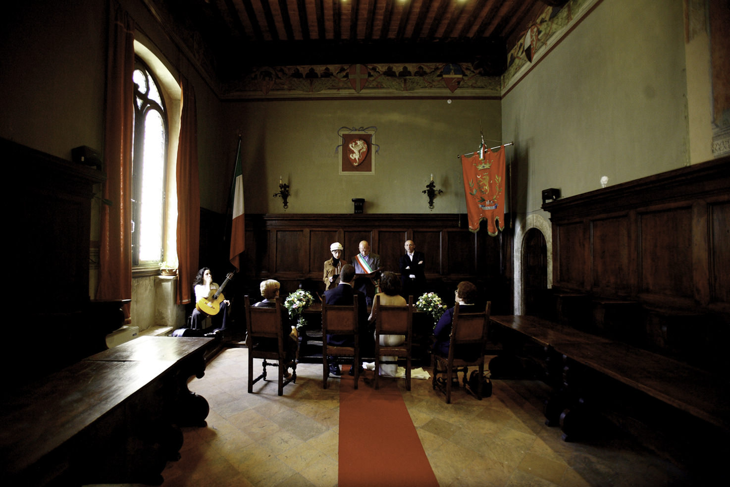 Civil wedding in Pienza Town Hall