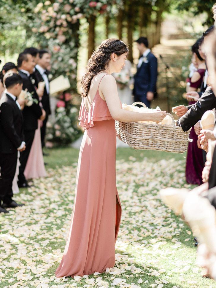 Bridesmaid with petal cones