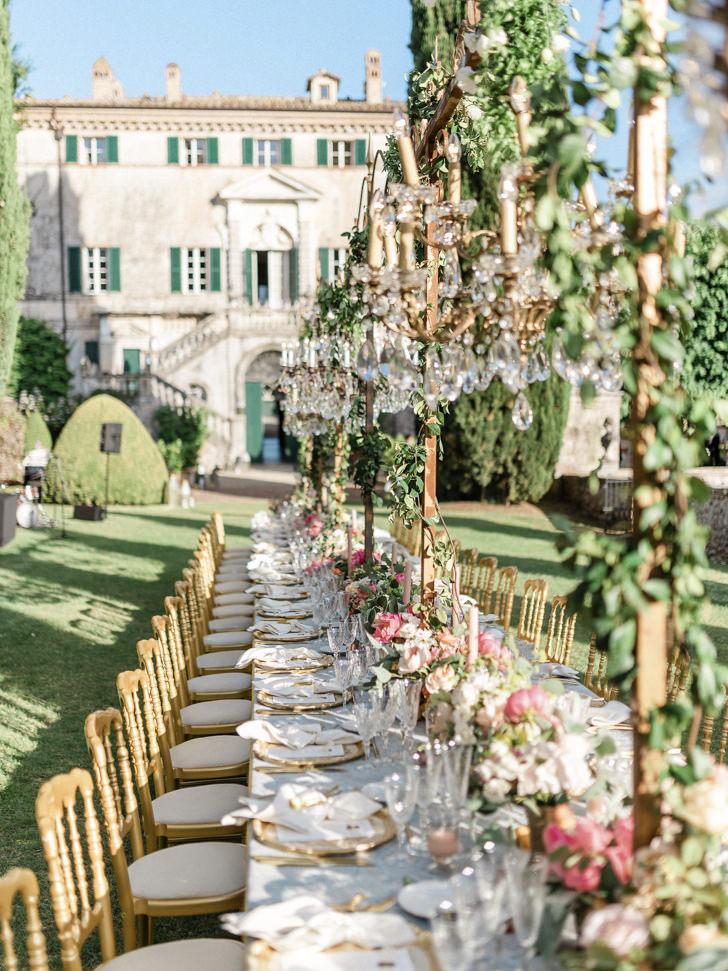 Wedding reception in the gardens of Villa Cetinale