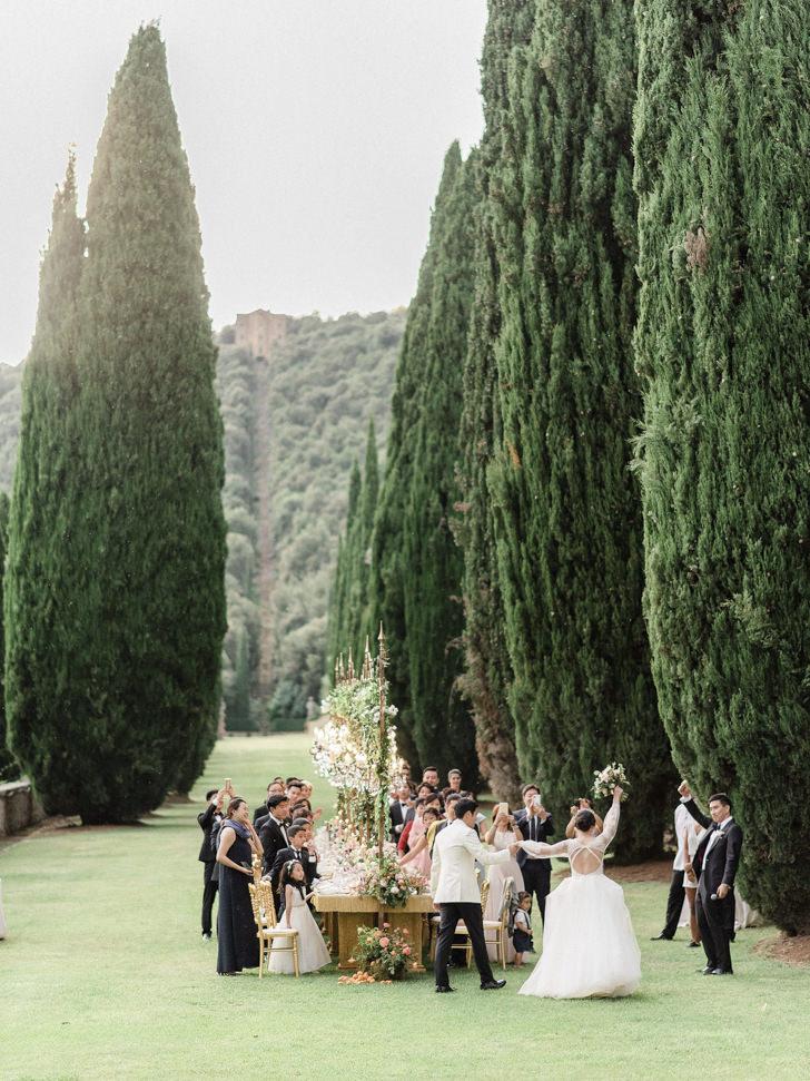 Outdoor wedding reception at Villa Cetinale