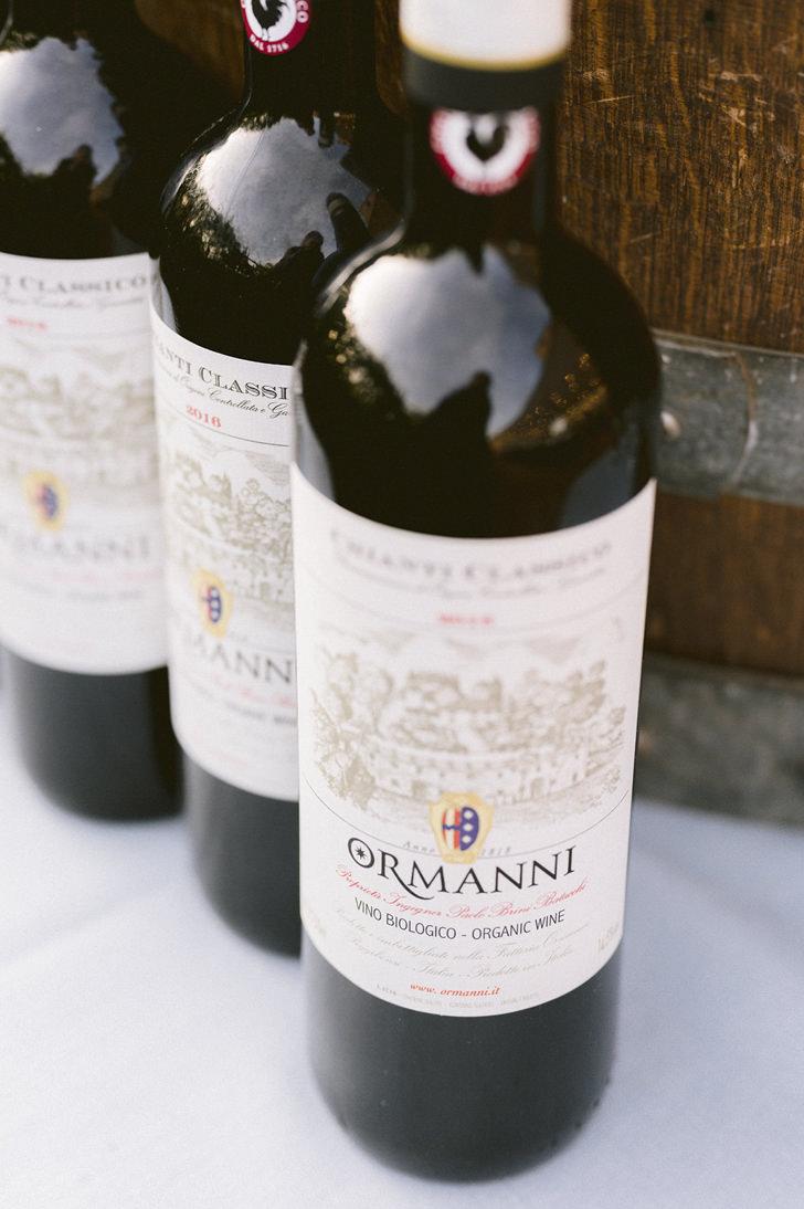 Bottles of Tuscan wine
