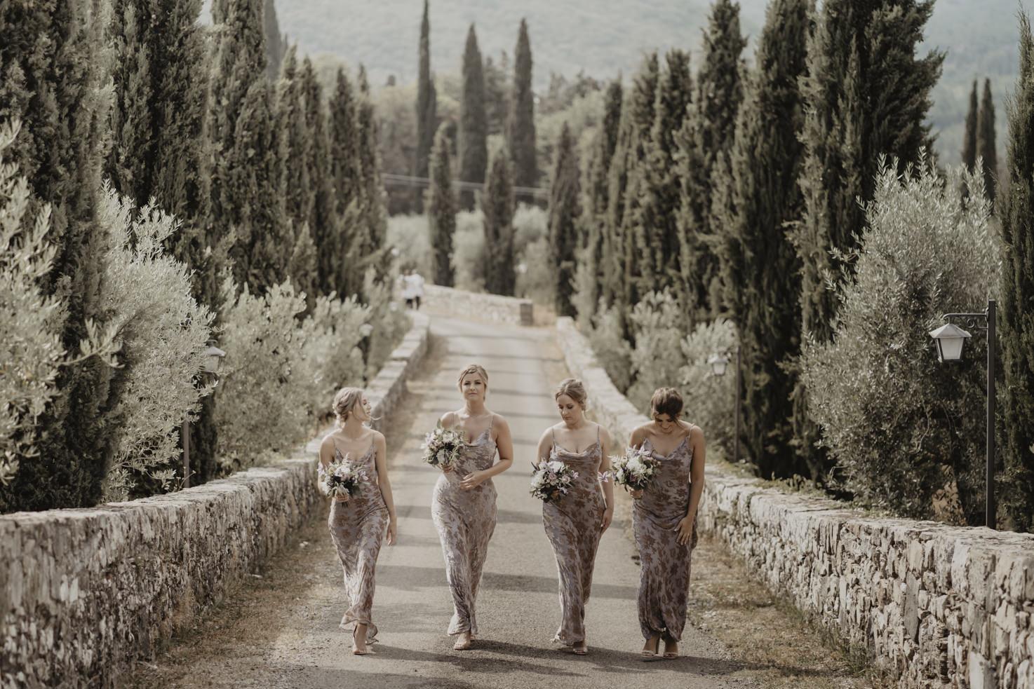 Bridesmaids in the gardens