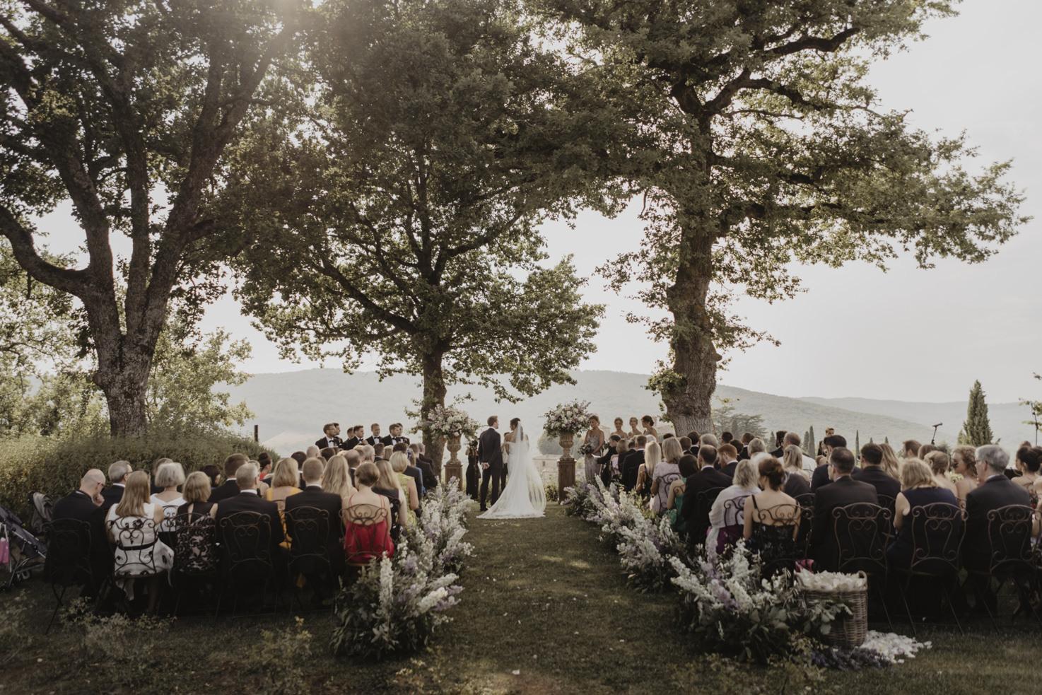 Wedding ceremony in the castle gardens