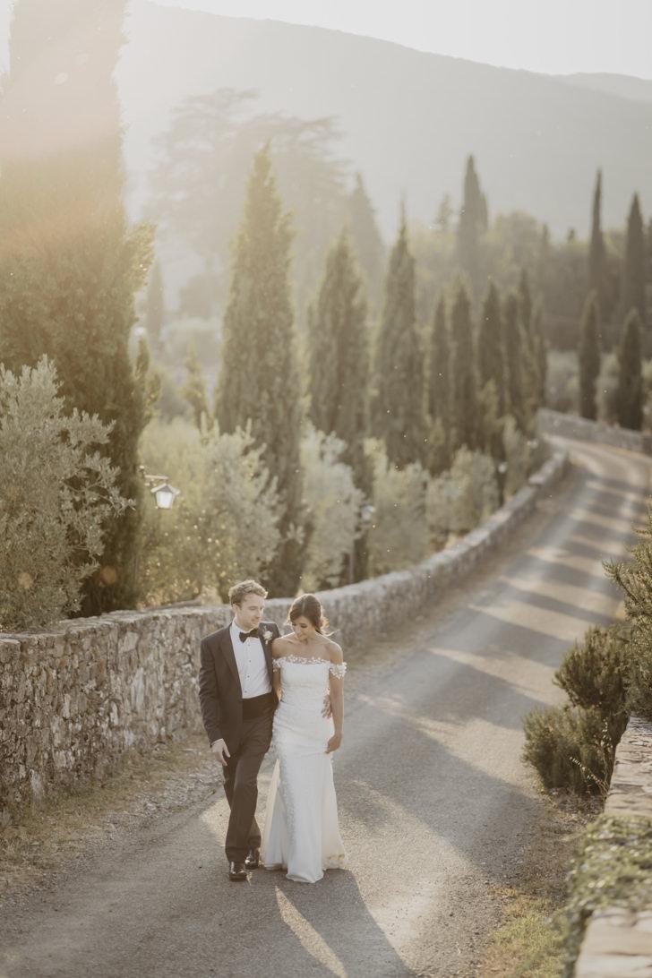 Bridal couple at wedding in Tuscany