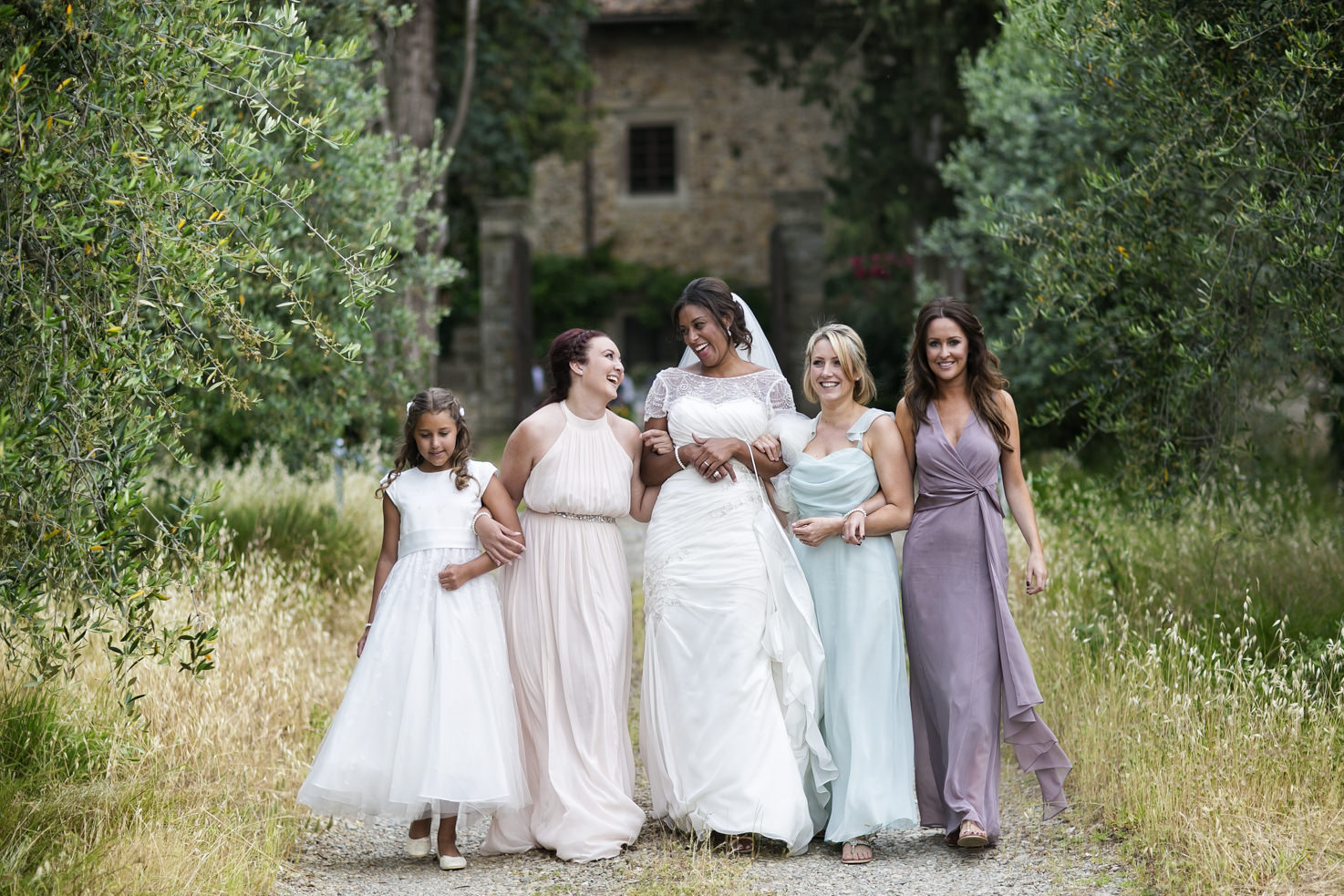 Bride and bridesmaids in the gardens
