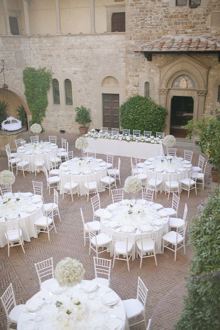 Wedding reception in the castle courtyard