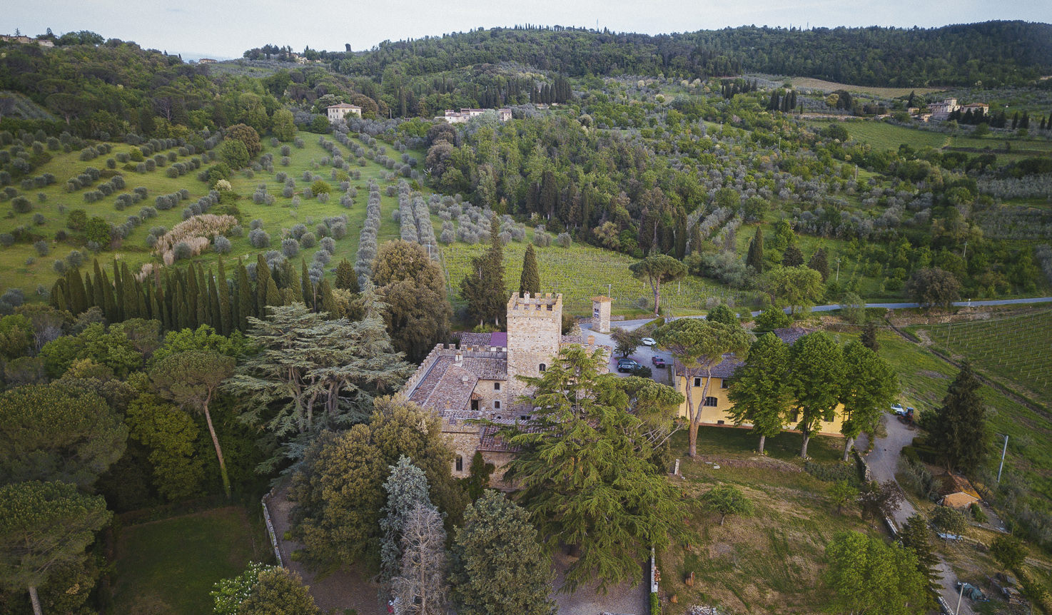 Aerial view of Castello Il Palagio, Tuscany