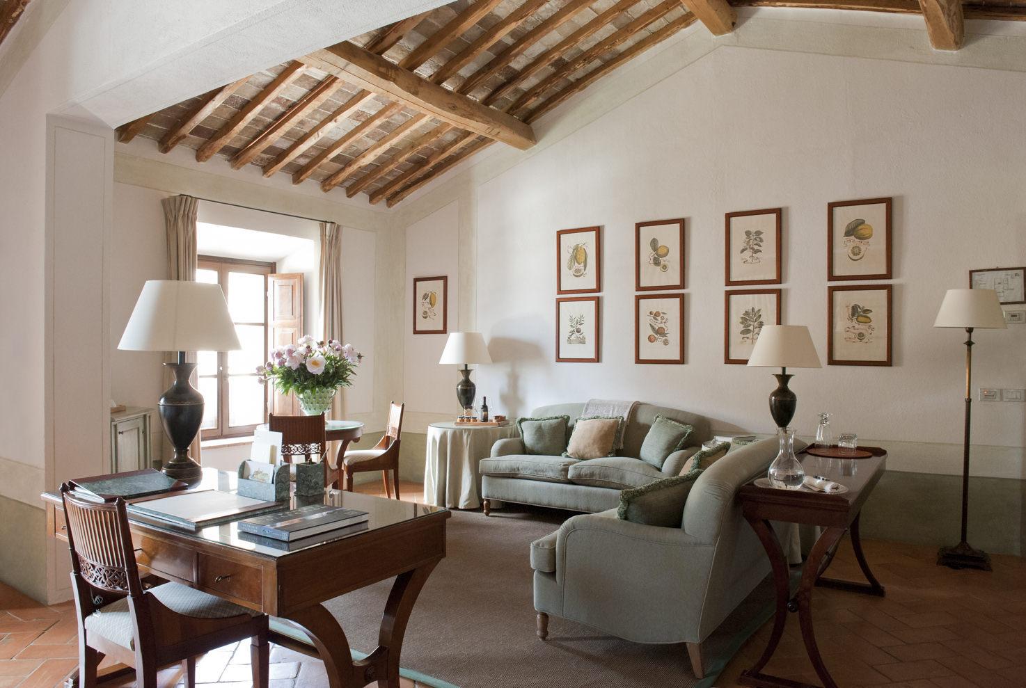 Living room inside Castello Banfi