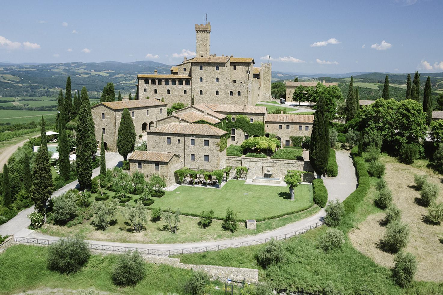 Overview of Castello Banfi near Montalcino