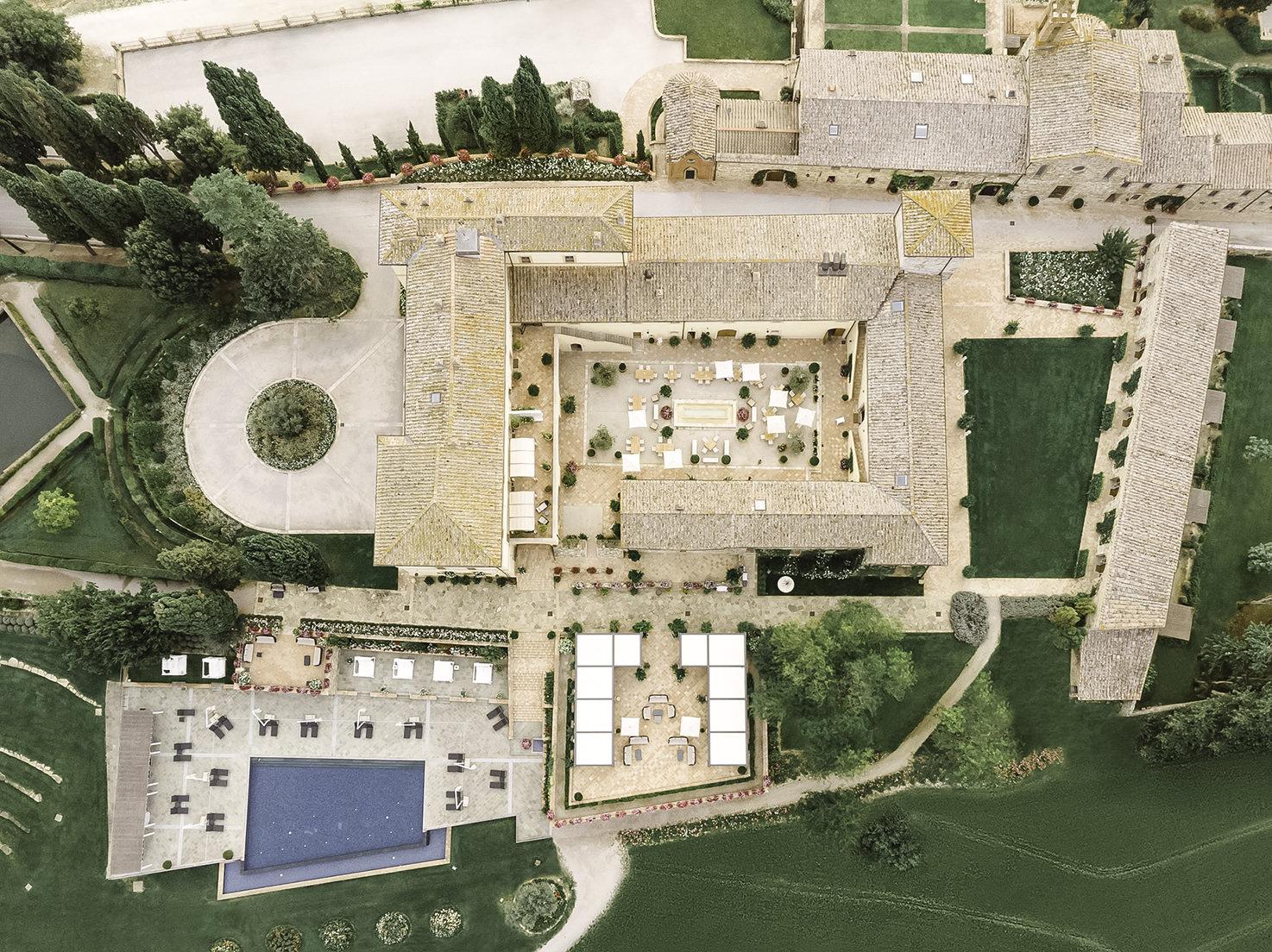 Aerial view of Belmond Castello di Casole, Tuscany