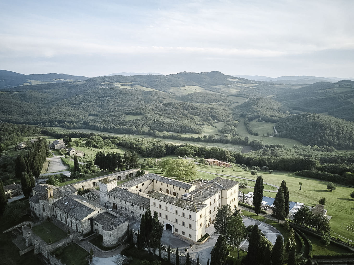 Aerial view of Castello di Casole
