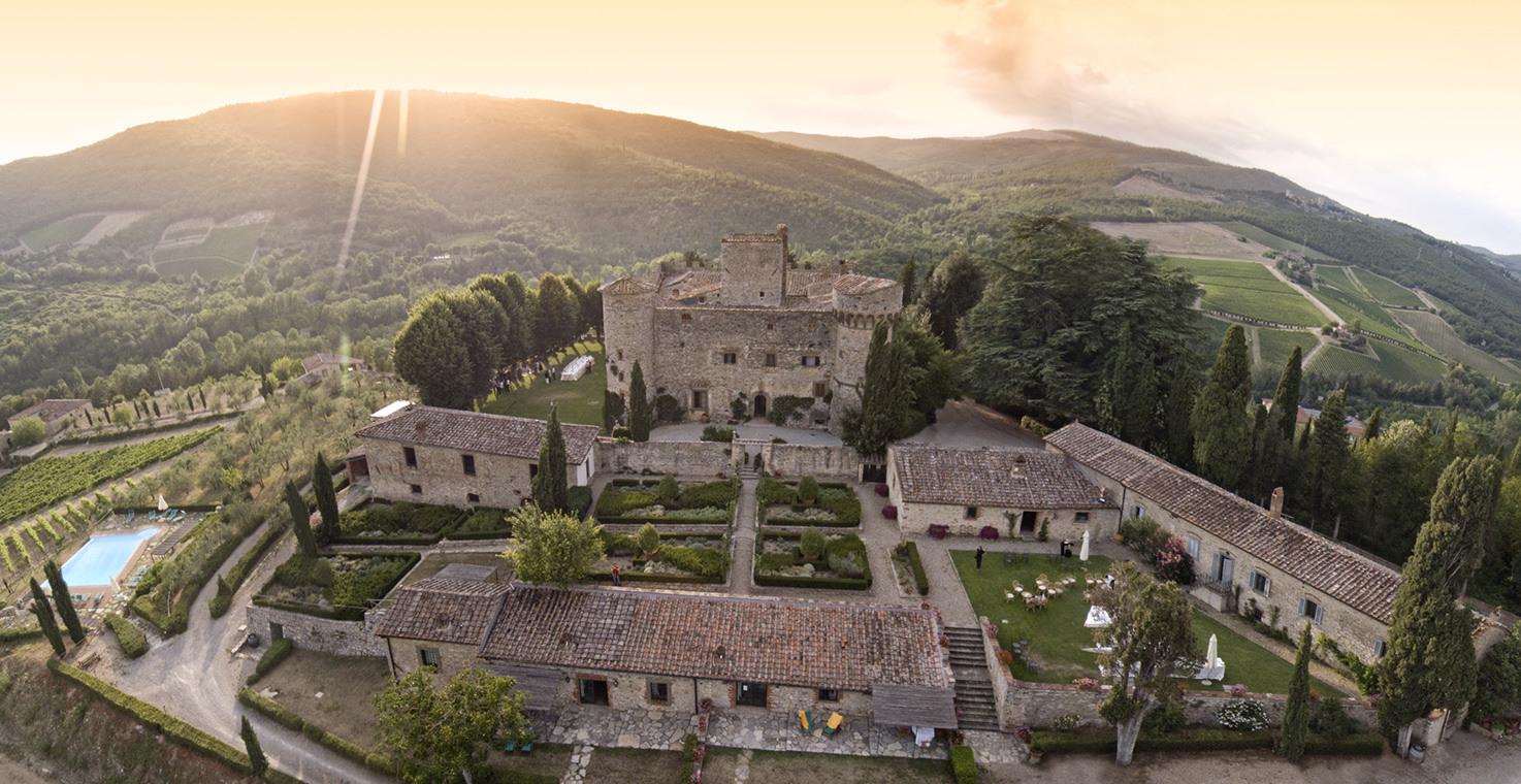 Aerial view of Castello di Meleto, Tuscany