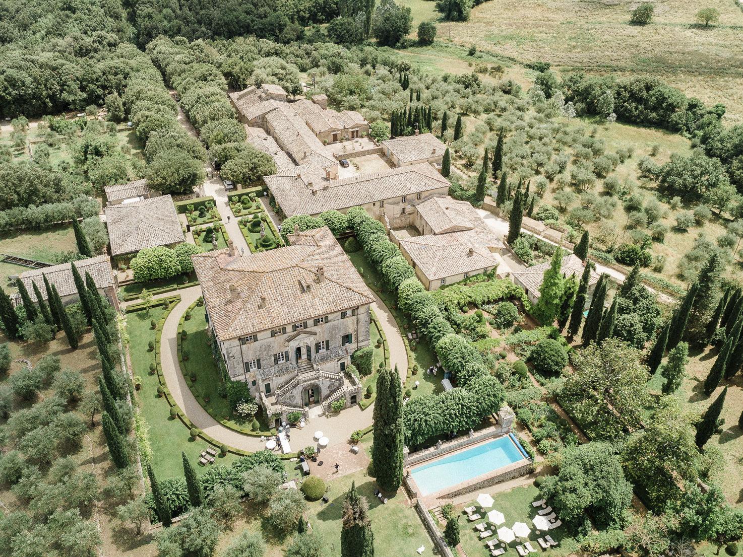 Aerial view of Villa Cetinale