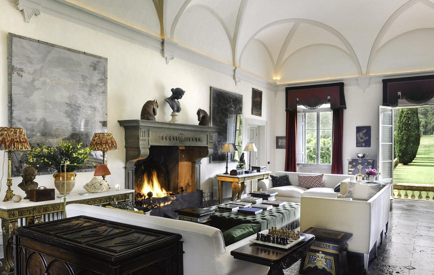 Stone fireplace at Villa Cetinale