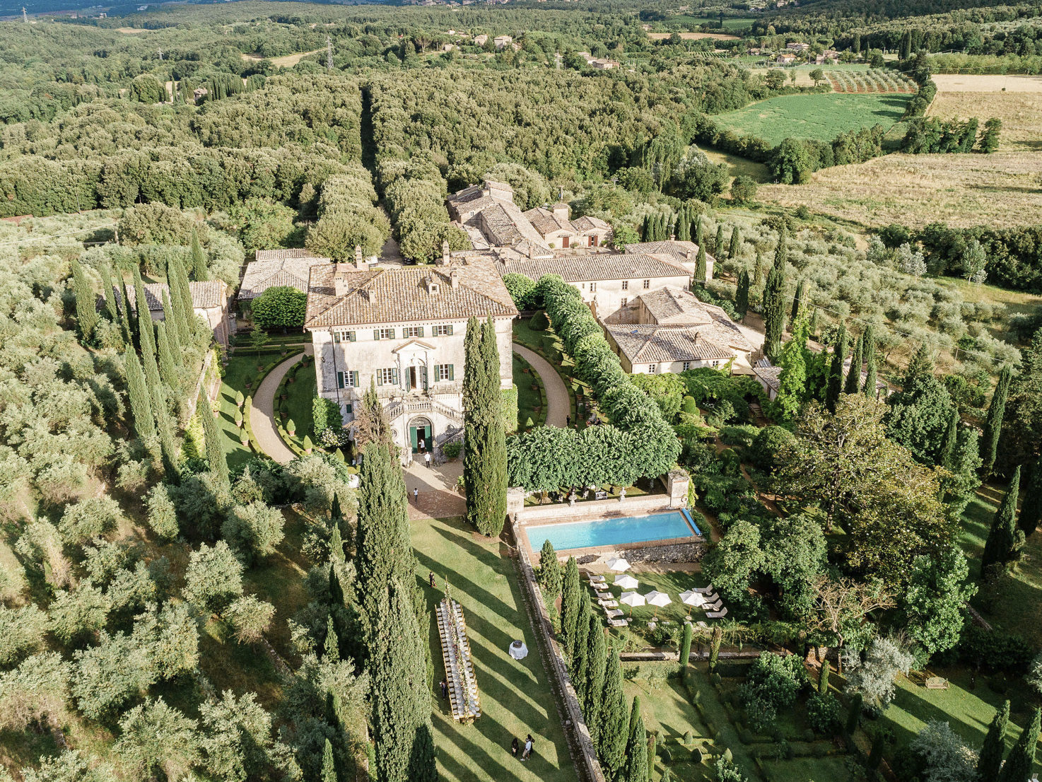 Aerial view of Villa Cetinale with gardens and pool