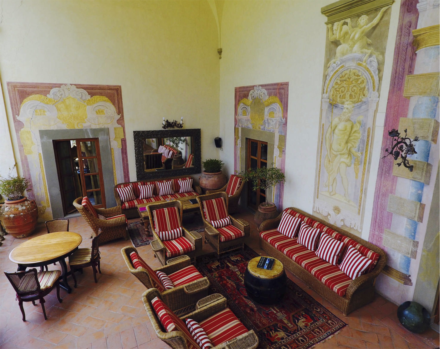 Loggia with Renaissance frescoes