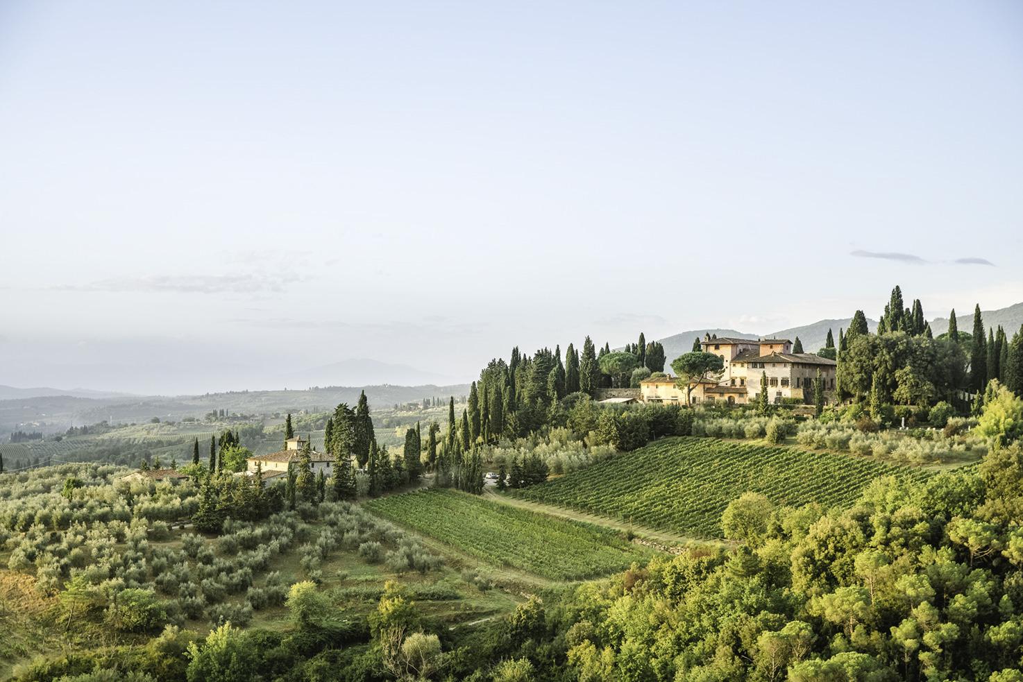 Panorama of Villa Vignamaggio in the Chianti region of Tuscany