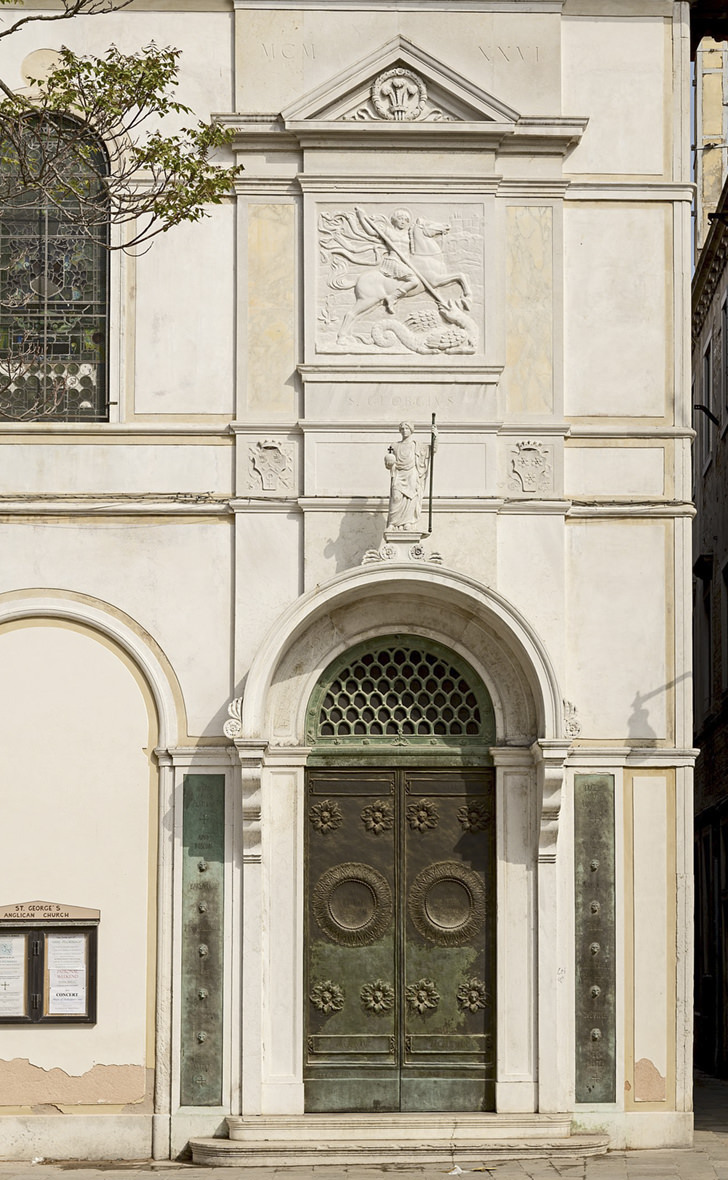 Façade of St. George's Anglican church in Venice