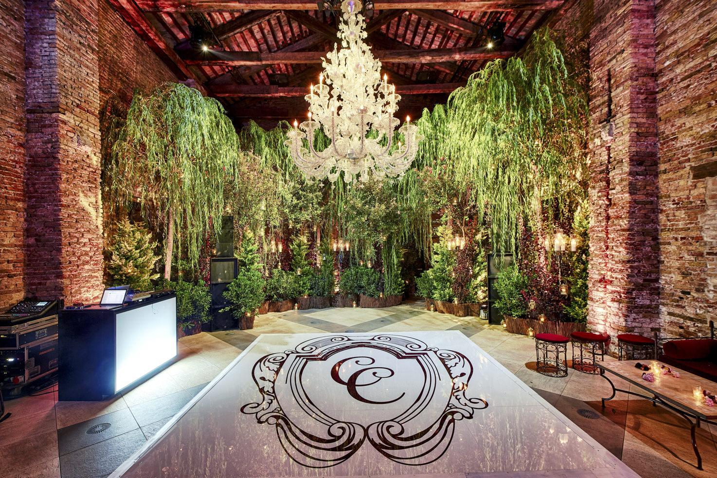 Dance floor with crystal chandelier