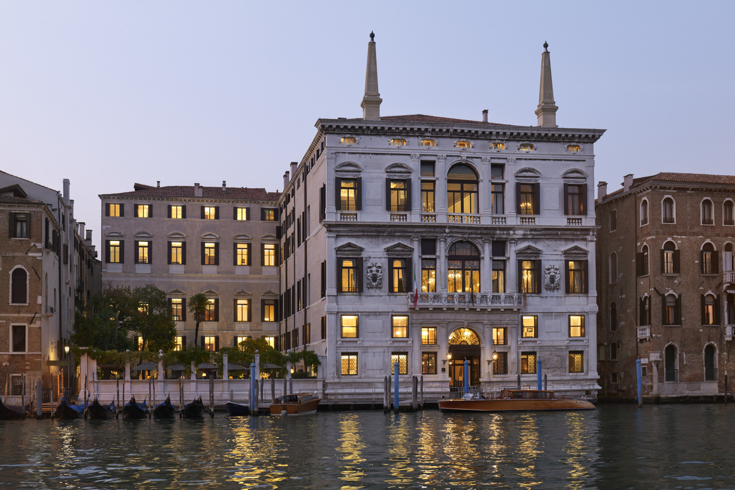 Exterior of Aman Hotel in Venice by night