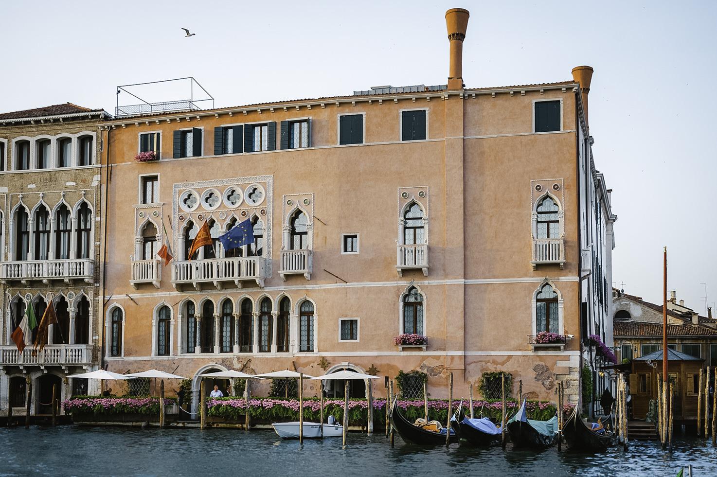 Façade of Cà Sagredo Palace in Venice