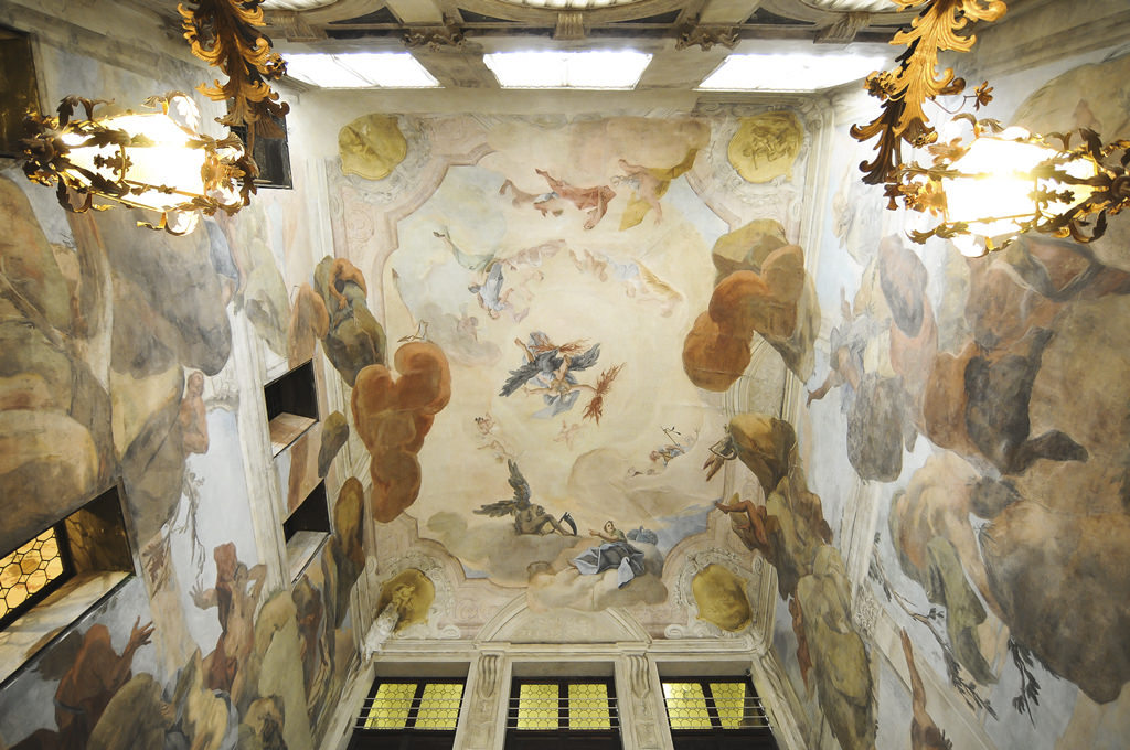 Frescoed ceiling above the staircase