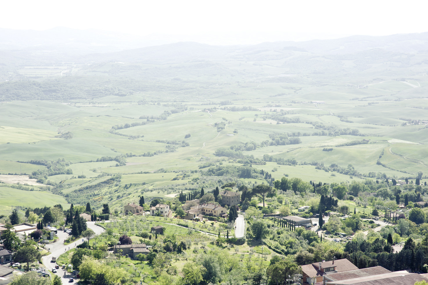 View over the countryside from the hill of Volterra