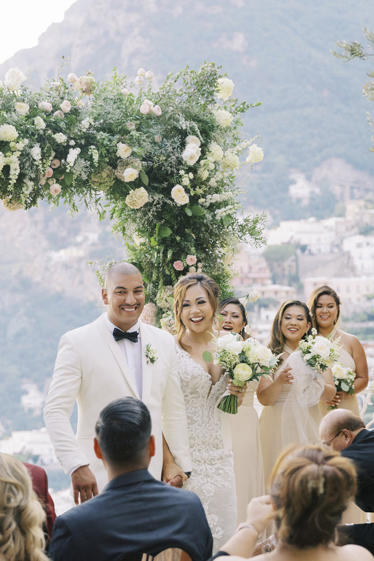 Wedding ceremony on a terrace with sea view