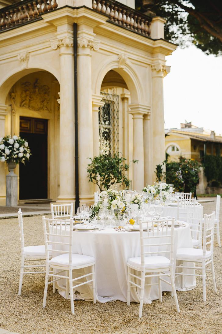 Outdoor wedding reception at Villa Aurelia