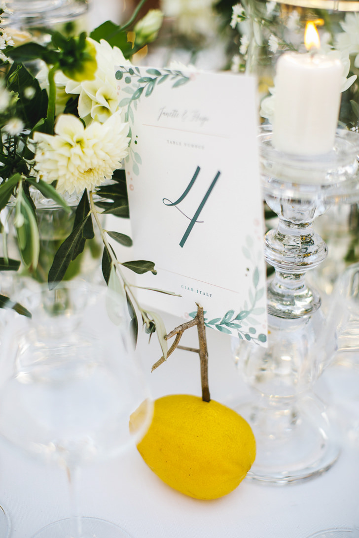 Decoration with flowers and lemons