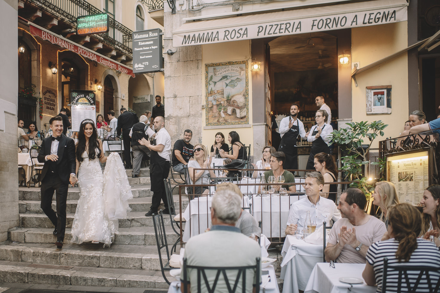 Bridal couple in a Sicilian town