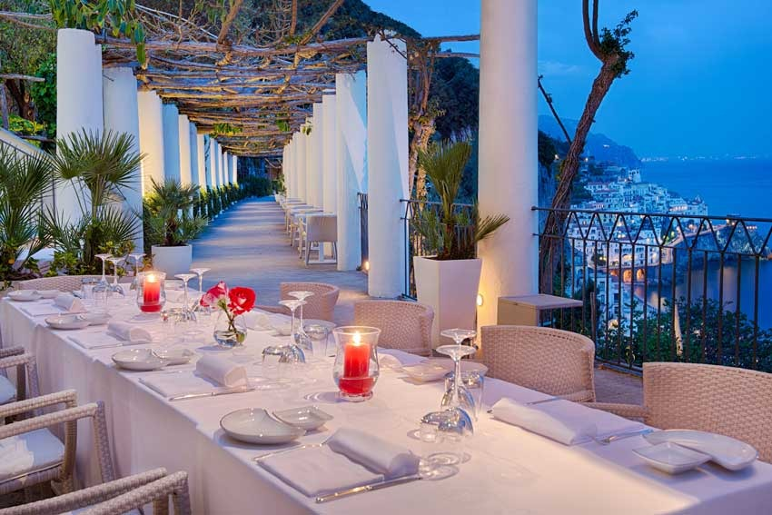 Terrace with seaview in five star hotel in Amalfi