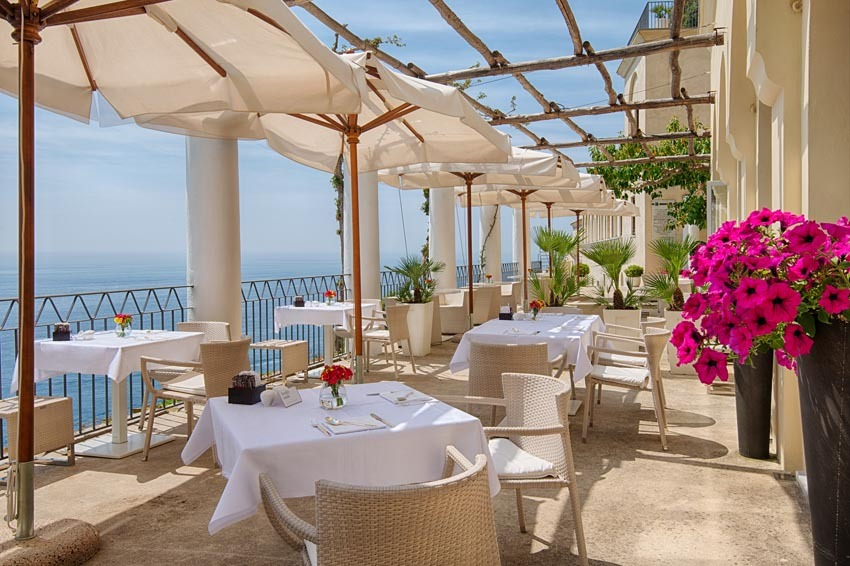 Terrace with seaview in luxury hotel in Amalfi