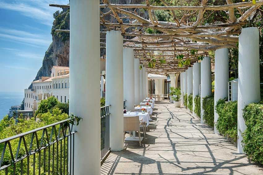 Terrace with seaview in luxury hotel in Amalfi