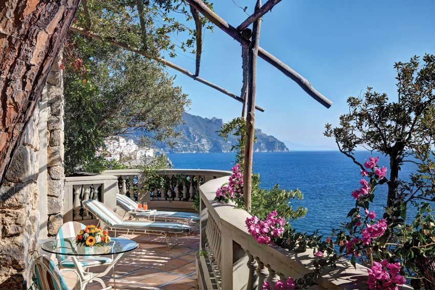 Terrace with seaview in Amalfi luxury hotel